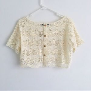 ✨NWT CROCHET CROP TOP WITH GOLD BUTTONED BACK